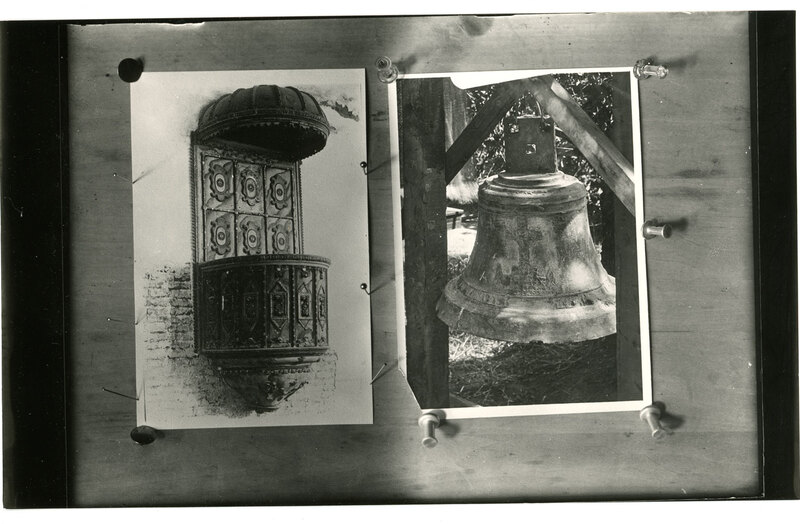 Original Pulpit From San Buenaventura Mission Next to a Bell
