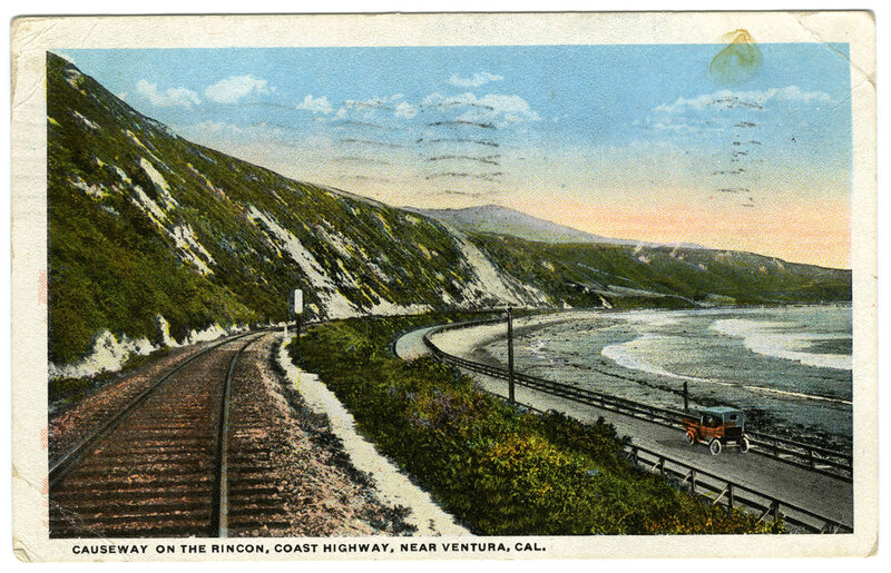 Causeway on the Rincon, State Highway Near Ventura County with postage marks