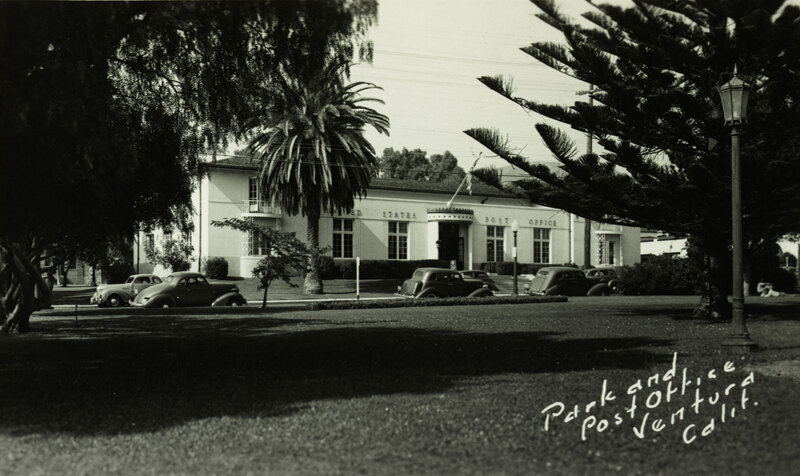 Plaza Park and Post Office, Ventura postcard