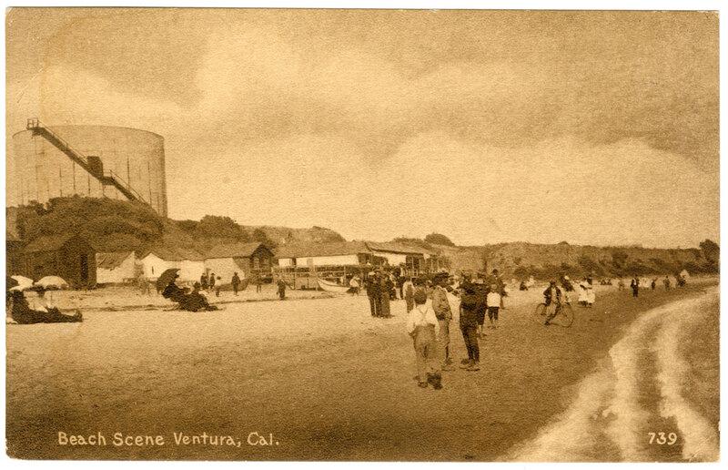 Beach Scene, Ventura, Cal. Post Card