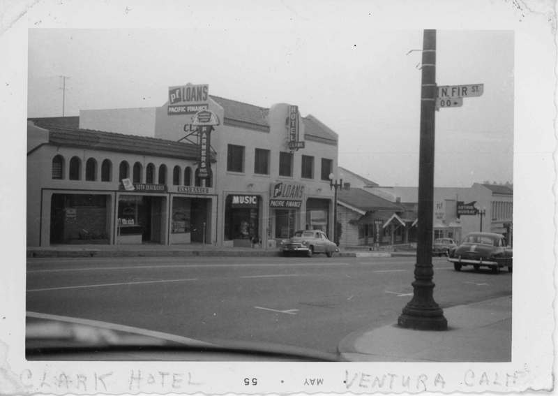Clark Hotel and businesses on Main Street