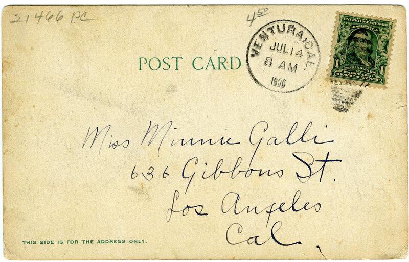 General View of Ventura, 1906 postcard verso