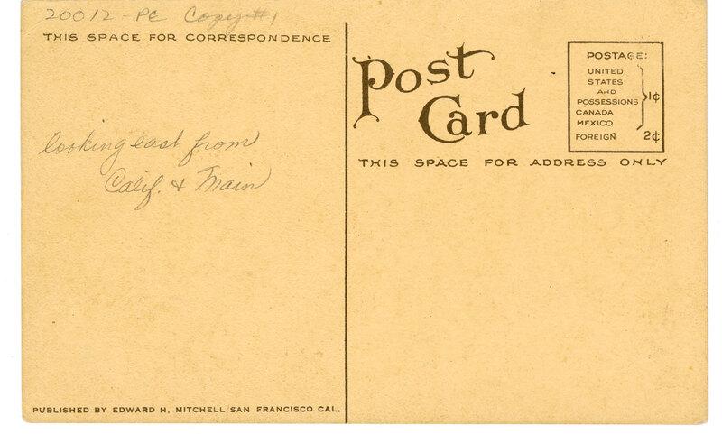 Bird's Eye View, Ventura, Cal. Post Card Verso
