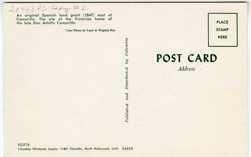 Don Adolfo Camarillo Home Post Card Verso