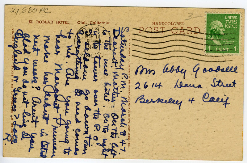 El Roblar Hotel postcard verso
