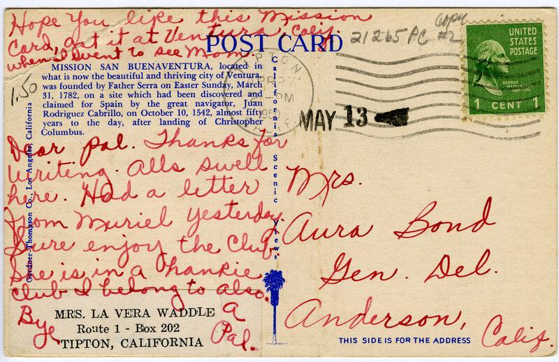 Greetings from California, Mission San Buenaventura, California 1950, back of postcard
