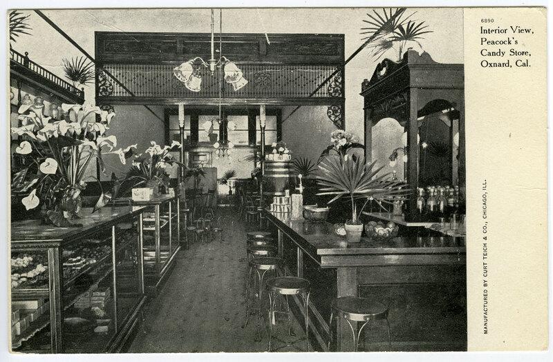 Interior View, Peacock's Candy Store, Oxnard postcard