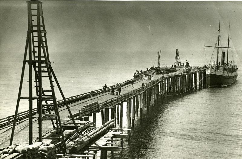 San Buenaventura Wharf and S.S. Pomona sepia