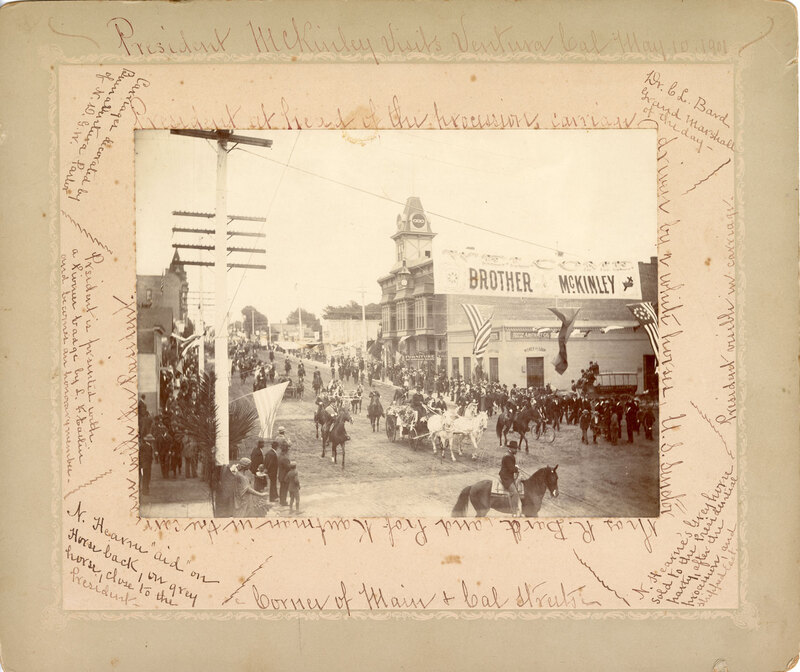 President McKinley's Visit to Ventura photo with border with writing on it