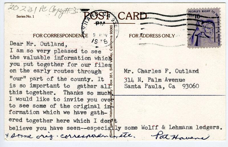 R.P. Srathearn Home Ranch postcard verso