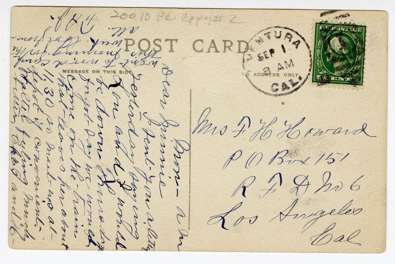 Bird's Eye View Ventura Post Card Verso