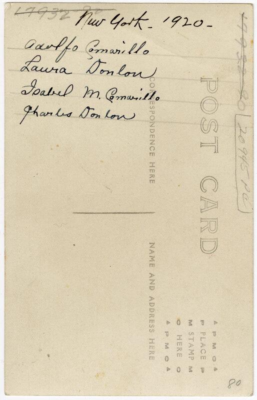Untitled, (Group photo of Adolfo Camarillo, Isabel Camarillo, Laura Donlon and Charles Donlon) Post Card Verso