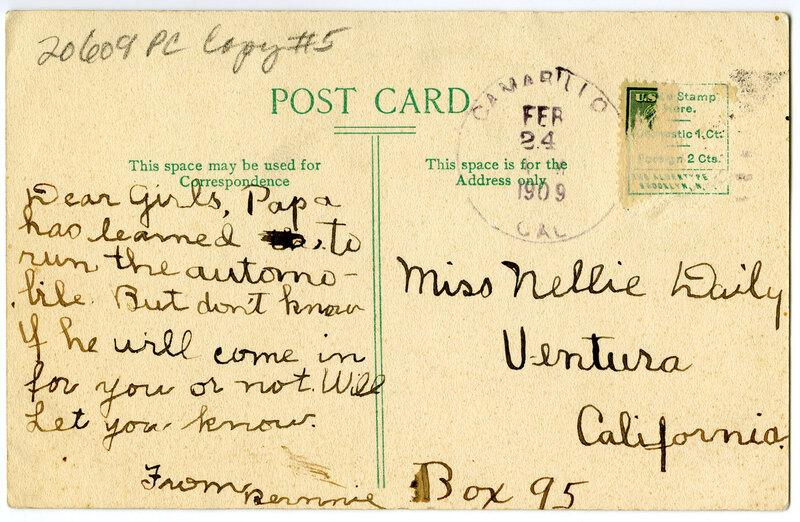 The Palms, Ventura Postcard Verso