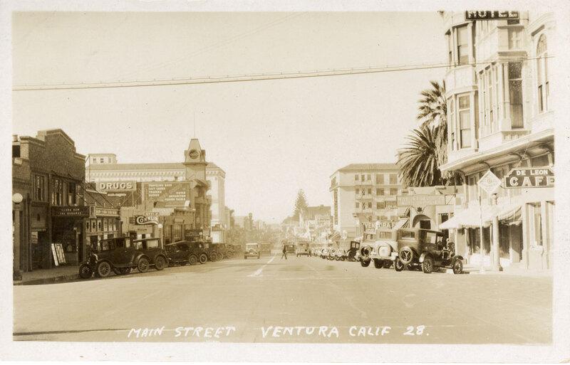 Main Street, Ventura post card sepia