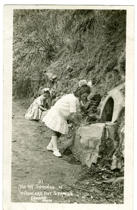 Two Little Girls at Wheelers Hot Springs postcard