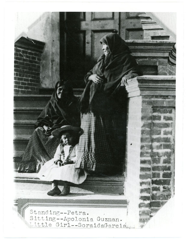 Chumash Basketmakers and Little Girl on Mission Steps