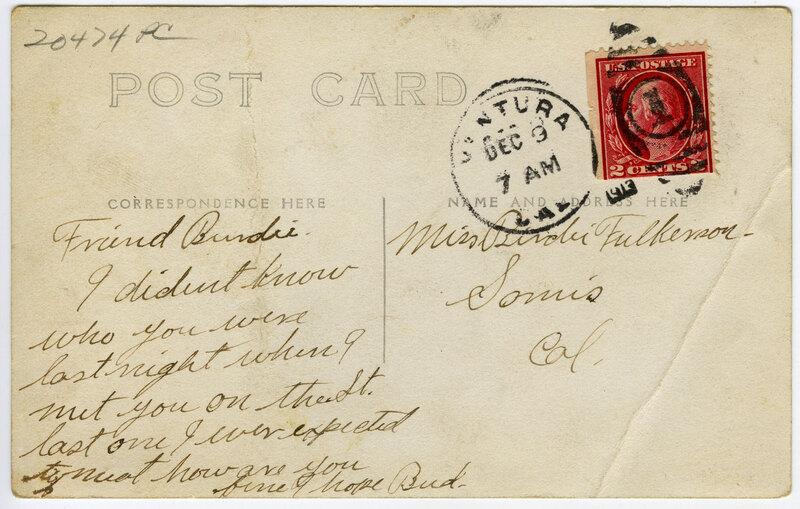 Souvenir, Ventura, Cal., 1913 Postcard verso