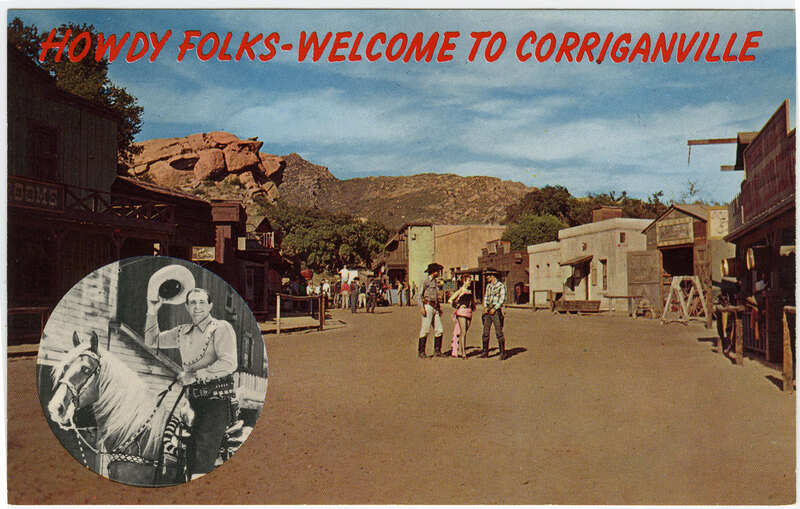 Howdy Folks-Welcome to Corriganville postcard