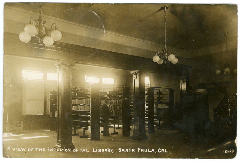 View of the Interior of the Library, Santa Paula postcard