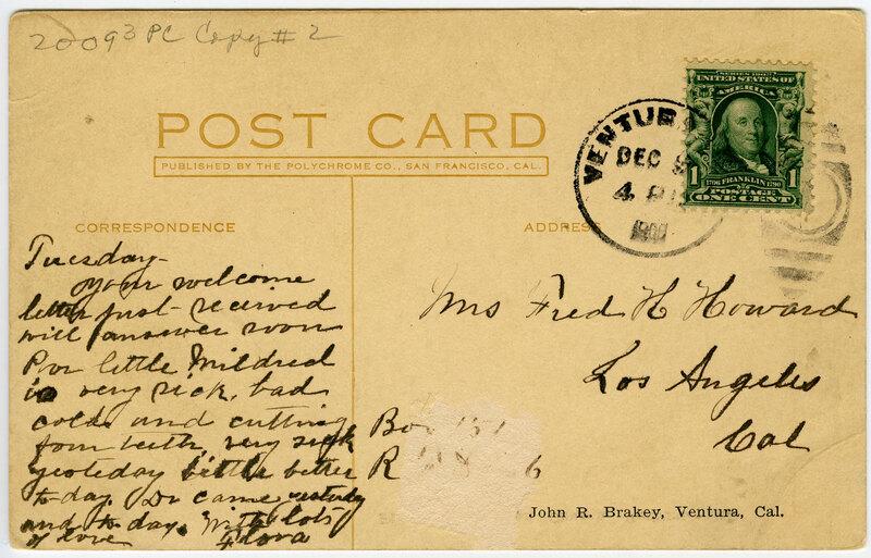 First Presbyterian Church, Ventura, post card verso