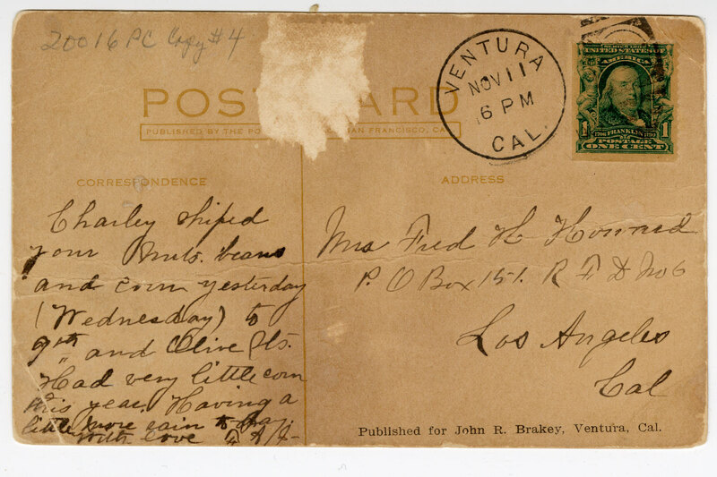County Hospital, Ventura, Cal. Post Card Verso