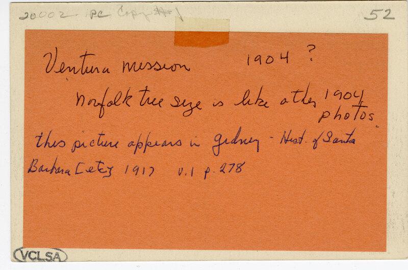 San Buenaventura Mission, Ventura, Cal. undated Post Card Verso