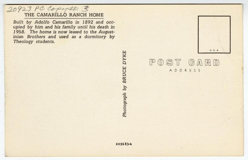 The Camarillo Ranch Home Post Card Verso