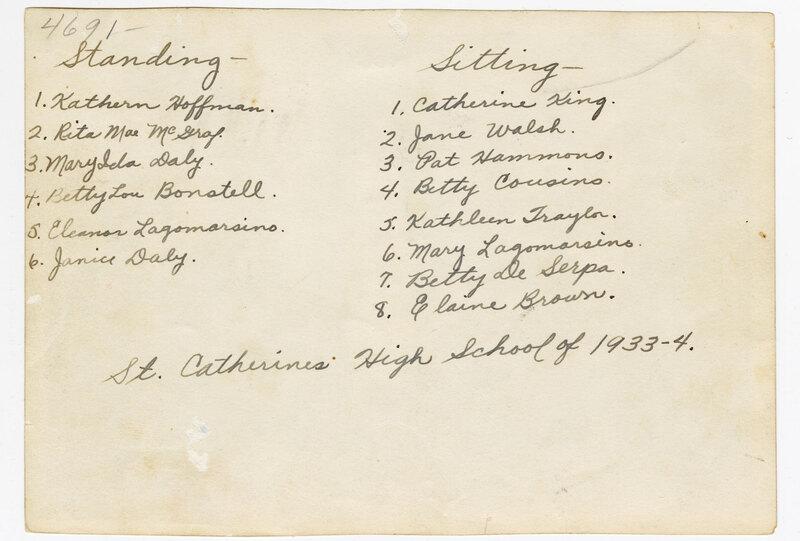 St. Catherine's High School Class of 1933-14 Verso