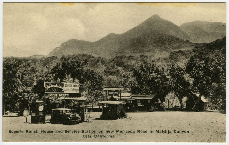 Soper's Ranch House and Service Station Postcard