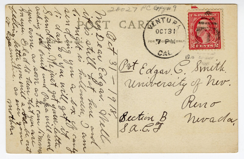 Anacapa Hotel, Ventura, Cal. Post Card Verso Letter