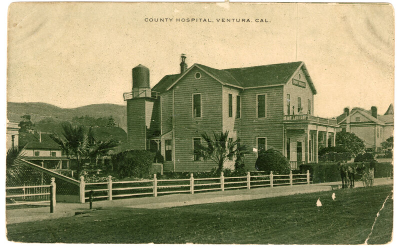 County Hospital, Ventura, Cal. Black and White Post Card