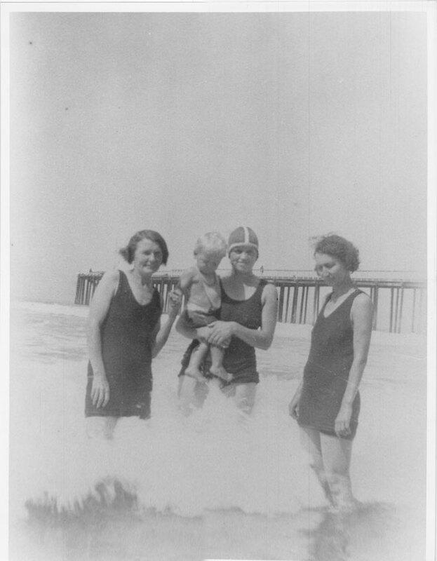 Women and Baby in Surf Near Pierpont Pier