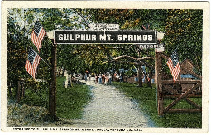 Entrance to Sulphur Mt. Springs postcard