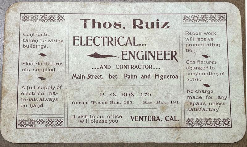 Thomas Ruiz Electrical Engineer business card