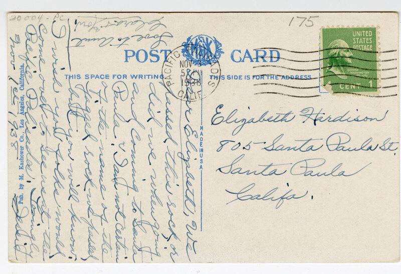 Dragon Rock, on Santa Monica to Oxnard Blvd., Roosevelt Highway, Calif. 1938 ; (pm) Post Card Verso