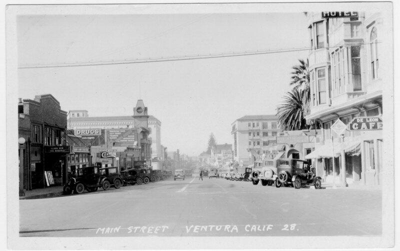 Main Street, Ventura post card, black and white