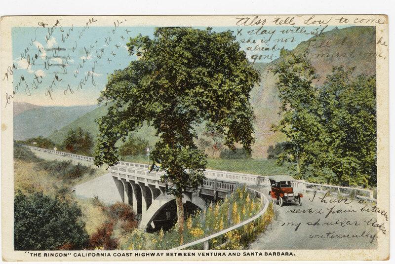 """""""The Rincon"""" California Coast Highway Between Ventura and Santa Barbara Post Card Annotated"""
