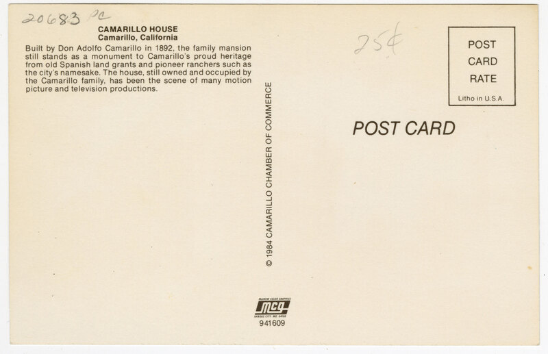 Camarillo House, Camarillo, Cal. Post Card Verso