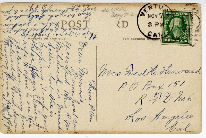 City Park Ventura, Cal. Post Card Verso