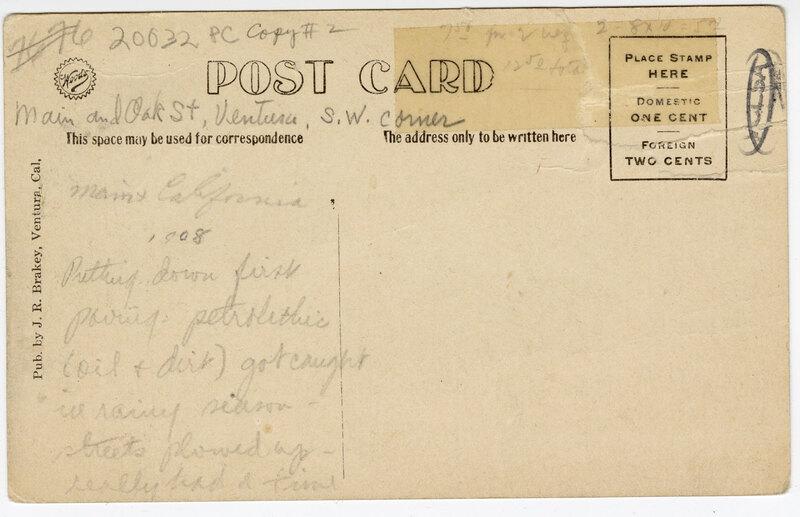 J.M. Montgomery 16 Mule Plow Team, Ventura, Cal. Post Card Verso
