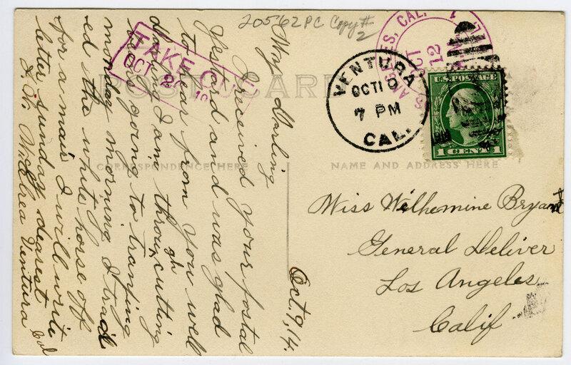 County Court House, Ventura Postcard Verso