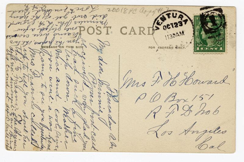 Court House, Ventura, Cal. Post Card Verso