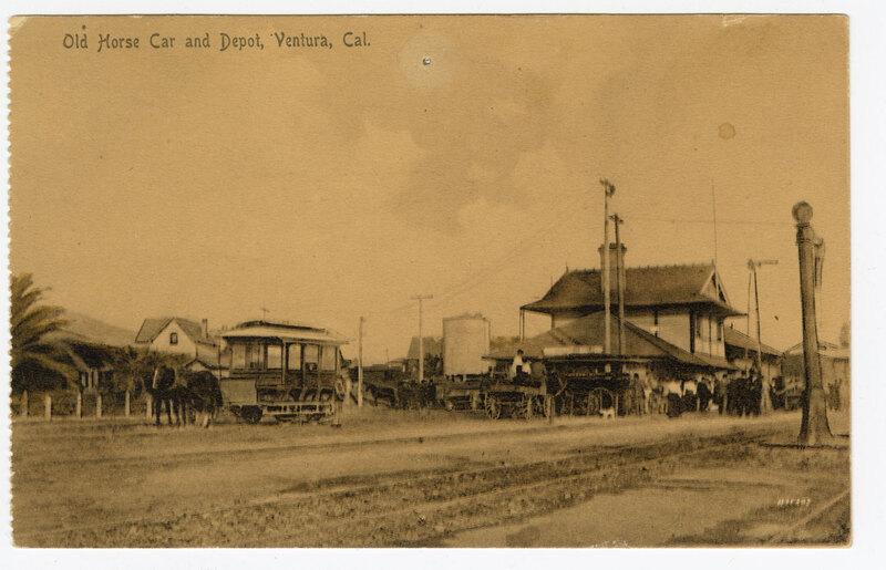 Old Horse Car and Depot, Ventura, Cal. undated Sepia Post Card