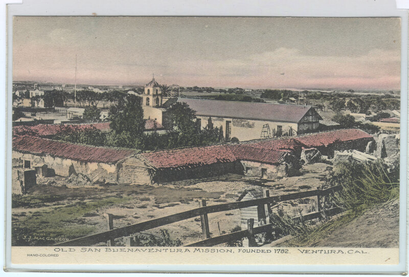 Old San Buenaventura Mission post card, hand colored