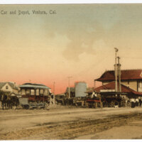 Old Horse Car and Depot, Ventura, Cal. undated Color Post Card