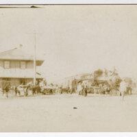Santa Paula Depot Scene postcard