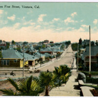 Looking South on First Street postcard