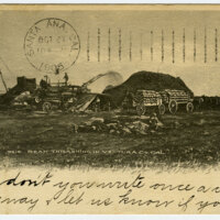 Bean Threshing in Ventura County Postcard
