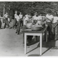 Ventura Police Boys' Club Members Line Up for Food