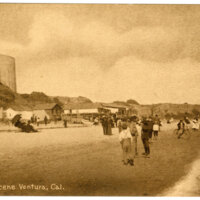 Beach Scene, Ventura, Cal. Post Card